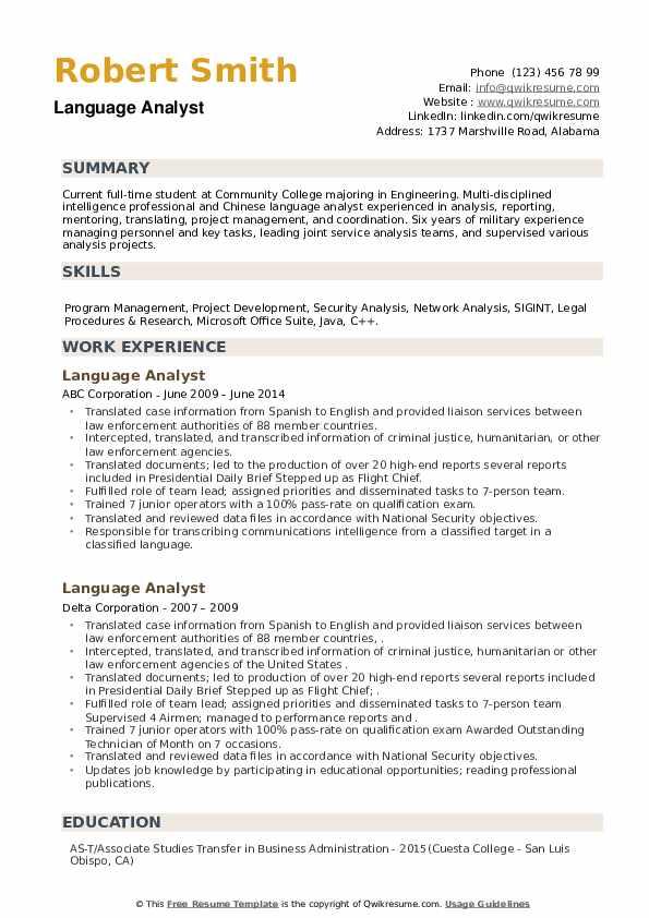 Language Analyst Resume example