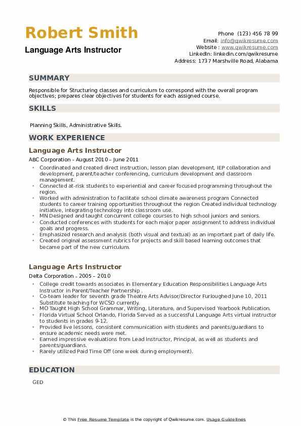 Language Arts Instructor Resume example