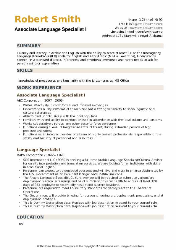 Language Specialist Resume example