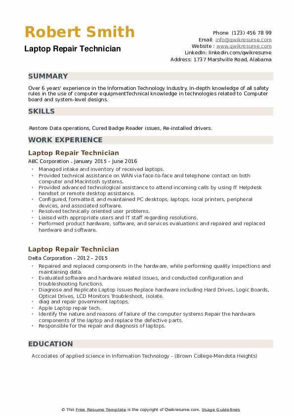 laptop repair technician resume samples  qwikresume