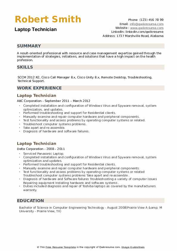 Laptop Technician Resume example