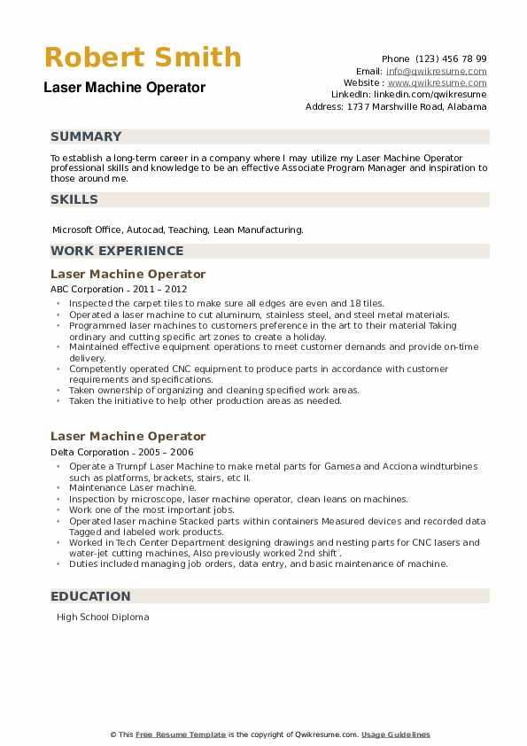 Laser Machine Operator Resume example