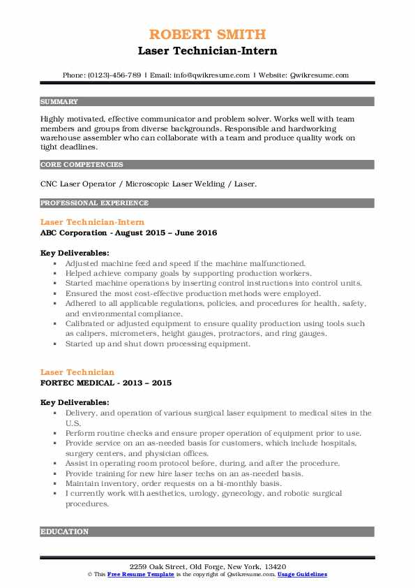 Laser Technician Resume Samples Qwikresume