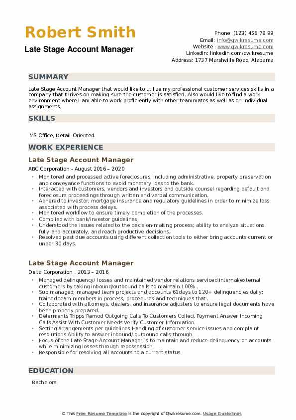 Late Stage Account Manager Resume example
