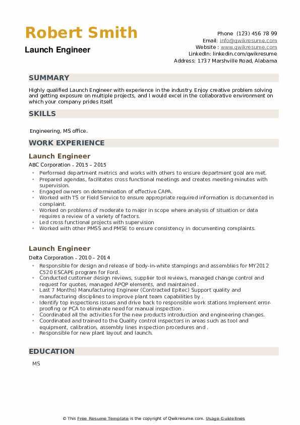 Launch Engineer Resume example