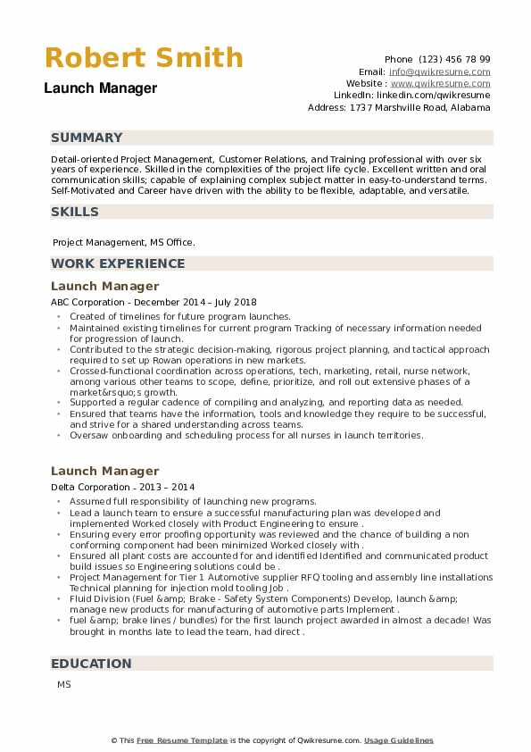 Launch Manager Resume example
