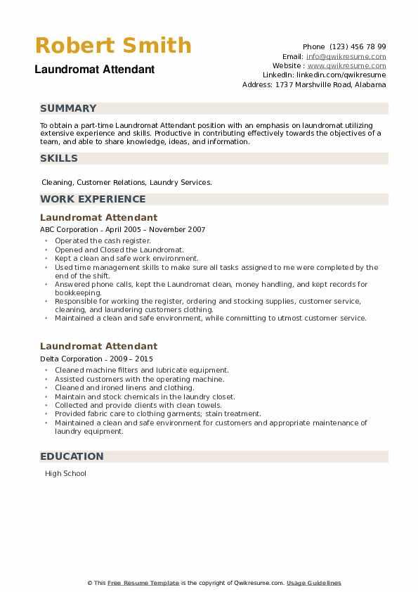 Laundromat Attendant Resume example