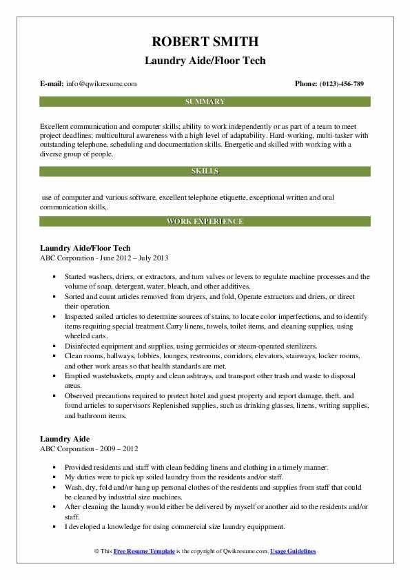 Laundry Aide Resume Samples | QwikResume