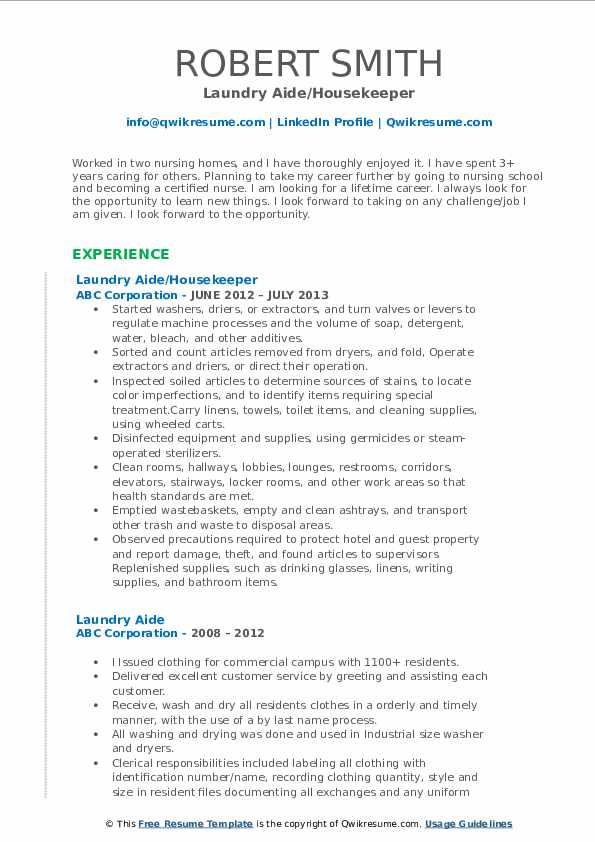 Laundry Aide/Housekeeper Resume Sample