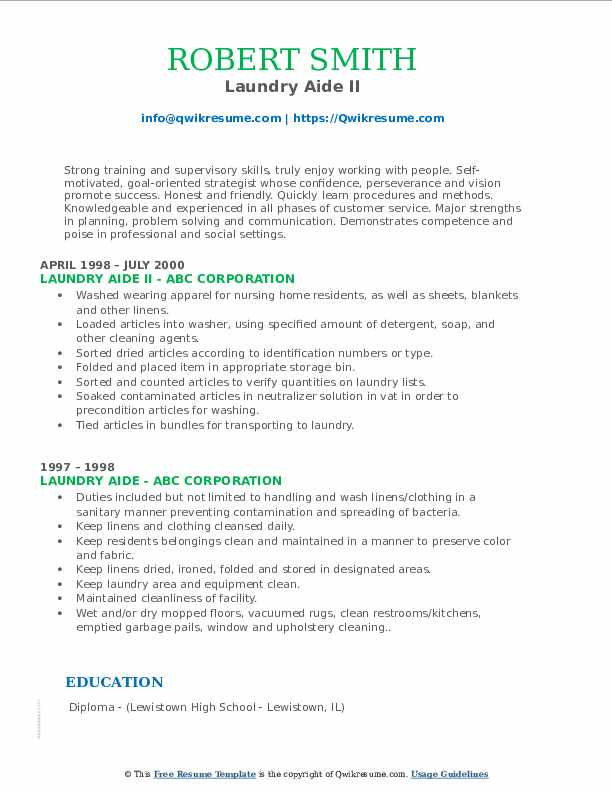Laundry Aide II Resume Example