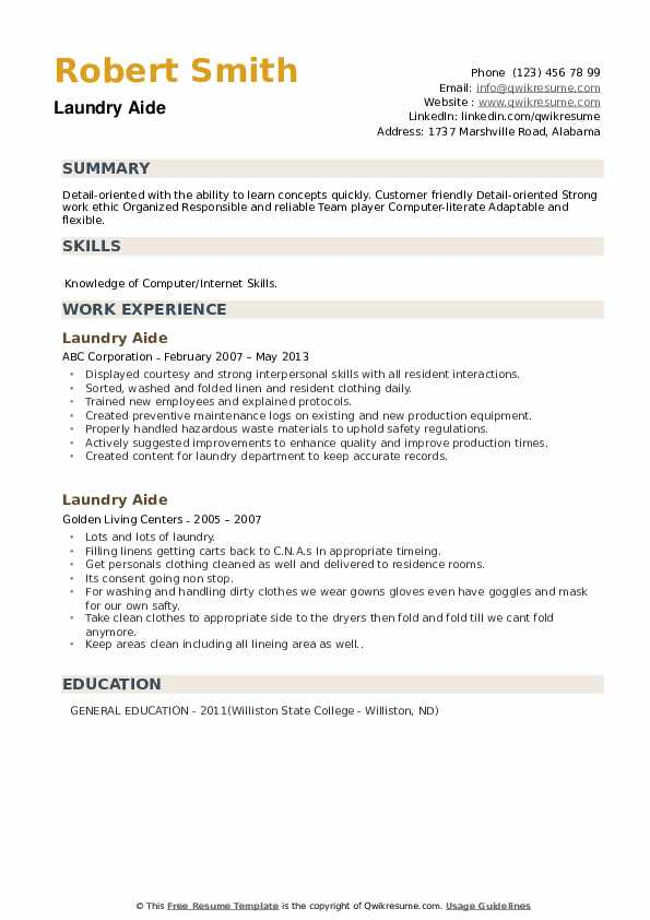 Laundry Aide Resume example