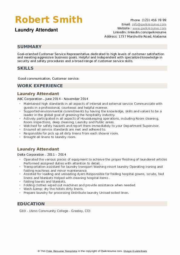 Laundry Attendant Resume example