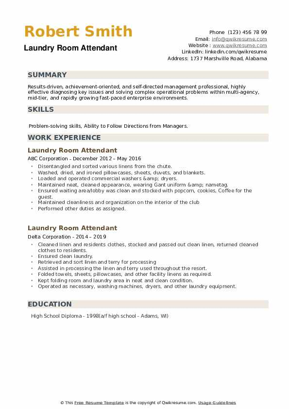 Laundry Room Attendant Resume example