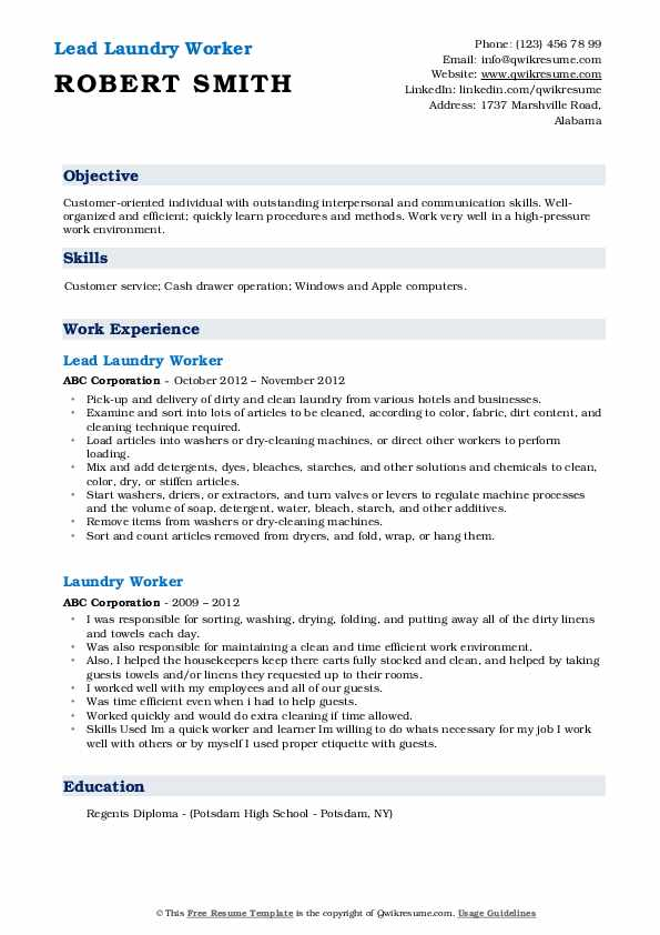 Lead Laundry Worker Resume Format