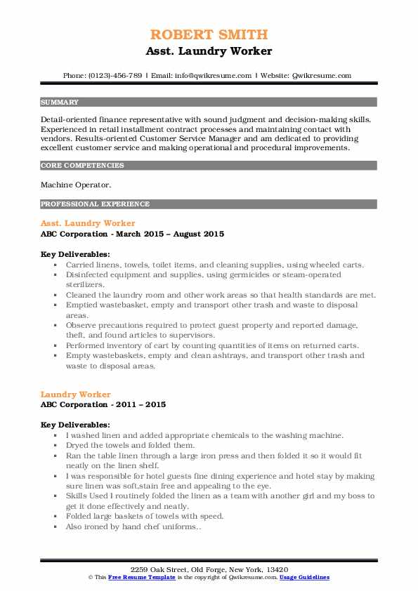 Asst. Laundry Worker Resume Format