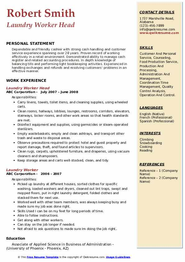 Laundry Worker Head Resume Template