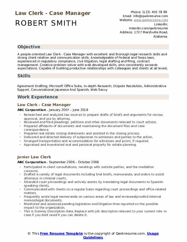 Law Clerk Resume Samples | QwikResume