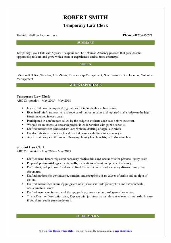 Temporary Law Clerk Resume Template