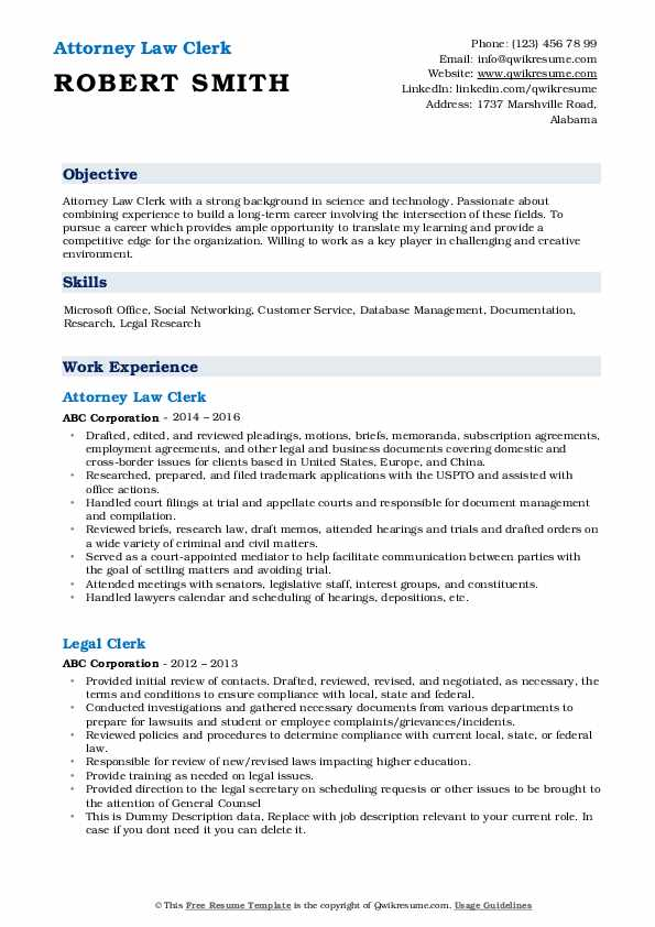 Attorney Law Clerk Resume Sample