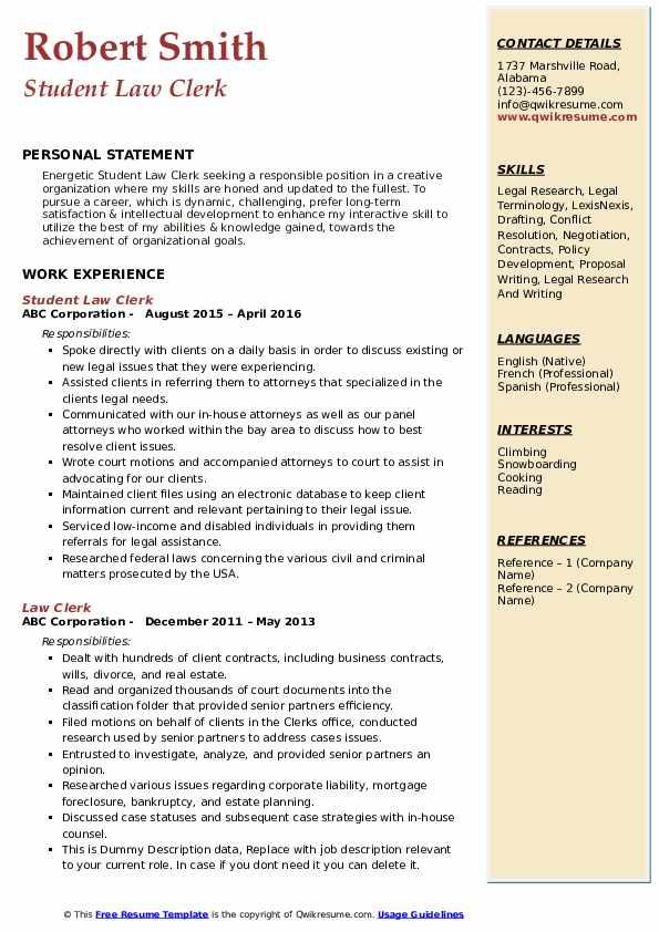 Student Law Clerk Resume Sample