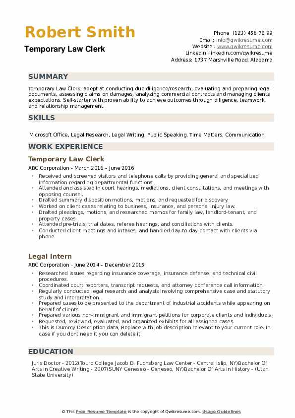Law Clerk Resume Samples Qwikresume