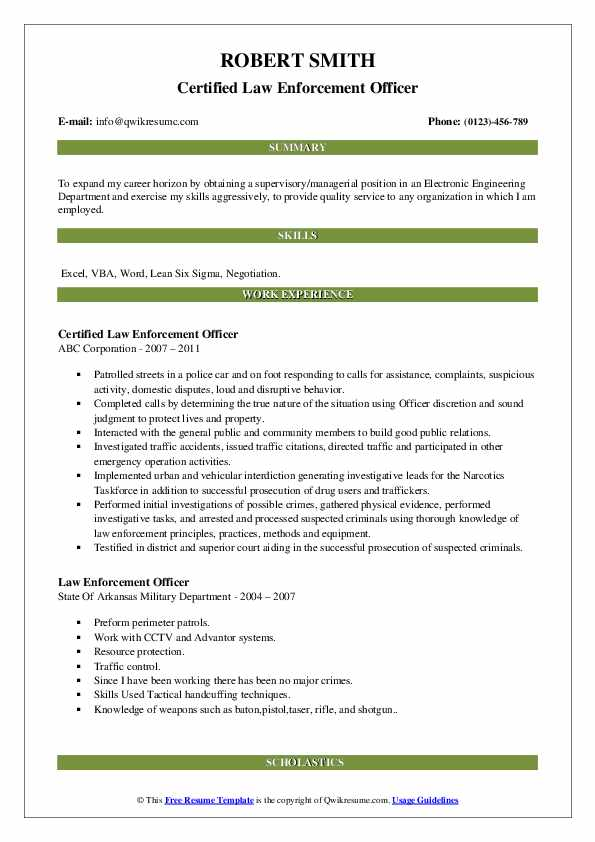 Law Enforcement Officer Resume Samples Qwikresume