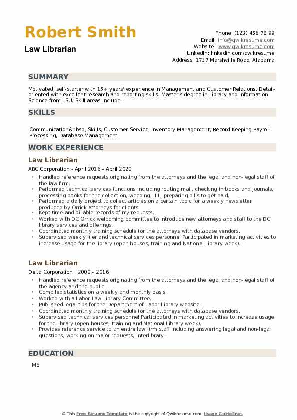 Law Librarian Resume example