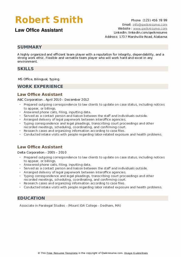 Law Office Assistant Resume example