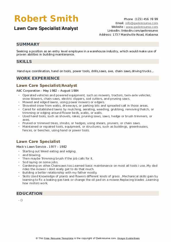 lawn care specialist resume samples