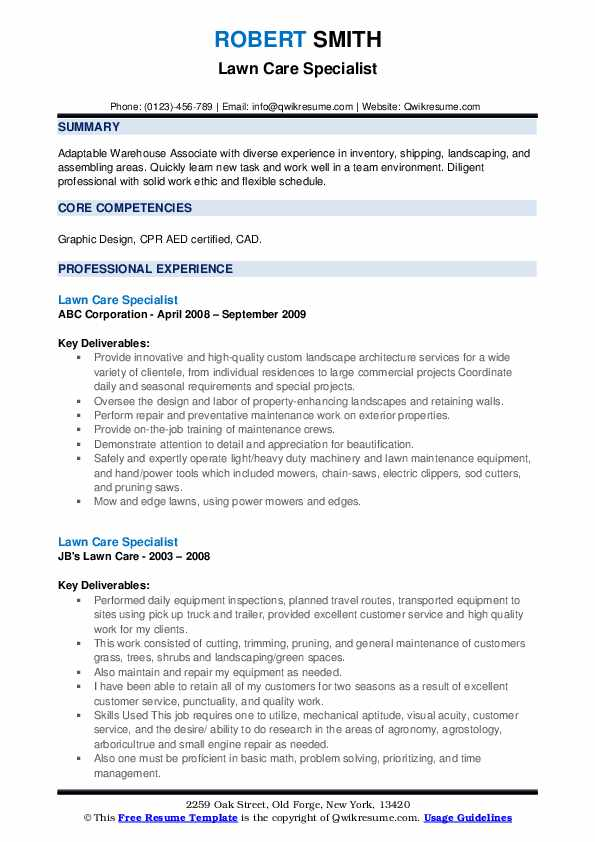 Lawn Care Specialist Resume example