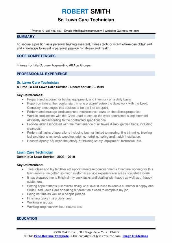 Sr. Lawn Care Technician Resume Format