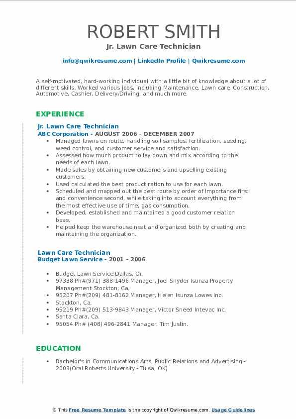 Jr. Lawn Care Technician Resume Format