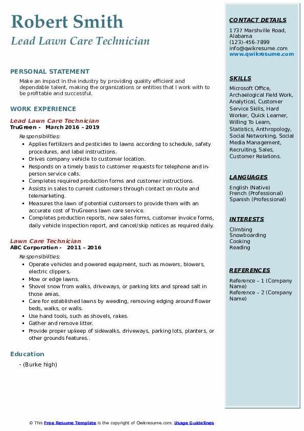 Lead Lawn Care Technician Resume Model