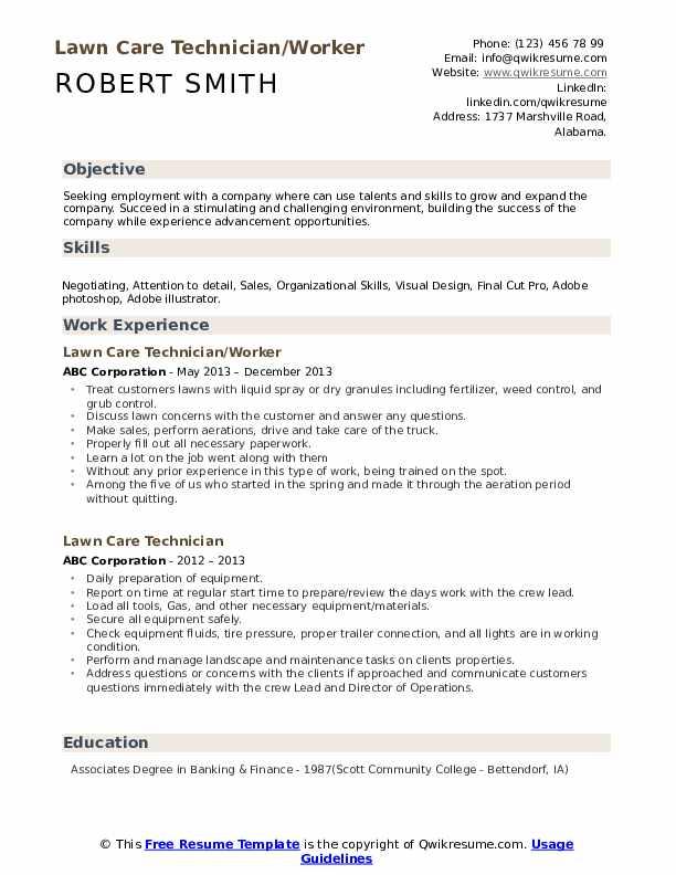 Lawn Care Technician/Worker Resume Model