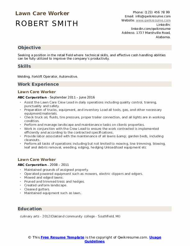 Lawn Care Worker Resume Sample