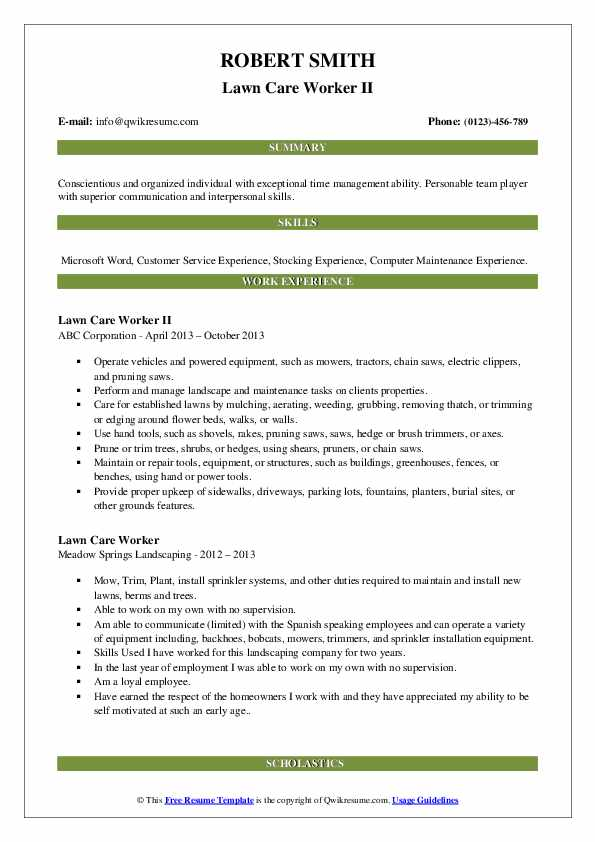 Lawn Care Worker II Resume Example