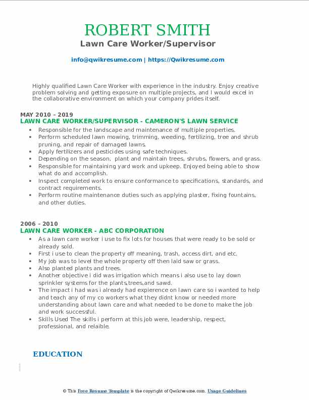 Lawn Care Worker/Supervisor Resume Example