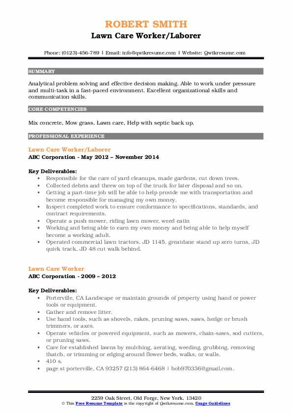 Lawn Care Worker/Laborer Resume Template