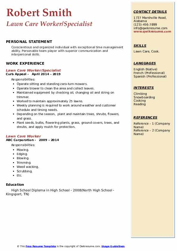 Lawn Care Worker/Specialist Resume Template
