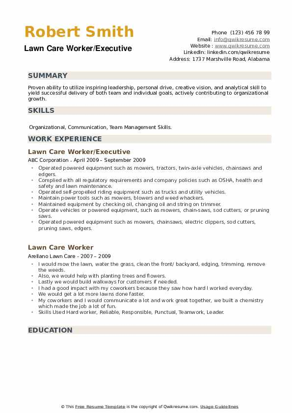 Lawn Care Worker/Executive Resume Template