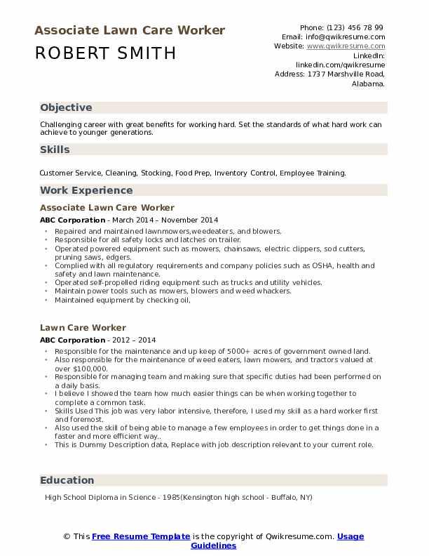 Associate Lawn Care Worker Resume Model