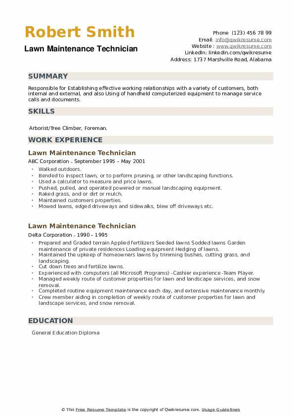 Lawn Maintenance Technician Resume example