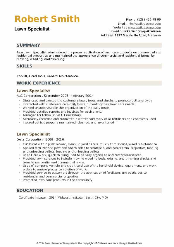 Lawn Specialist Resume example