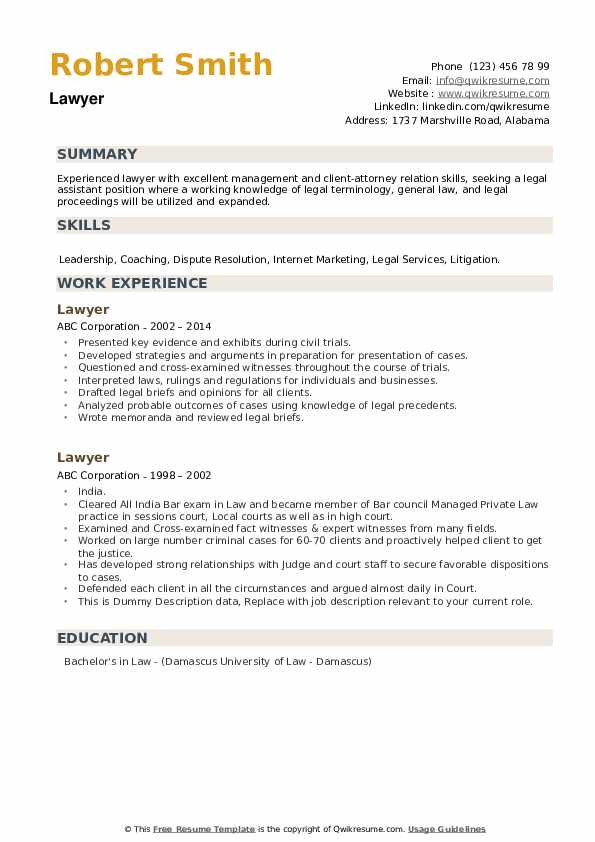 Lawyer Resume Samples Qwikresume