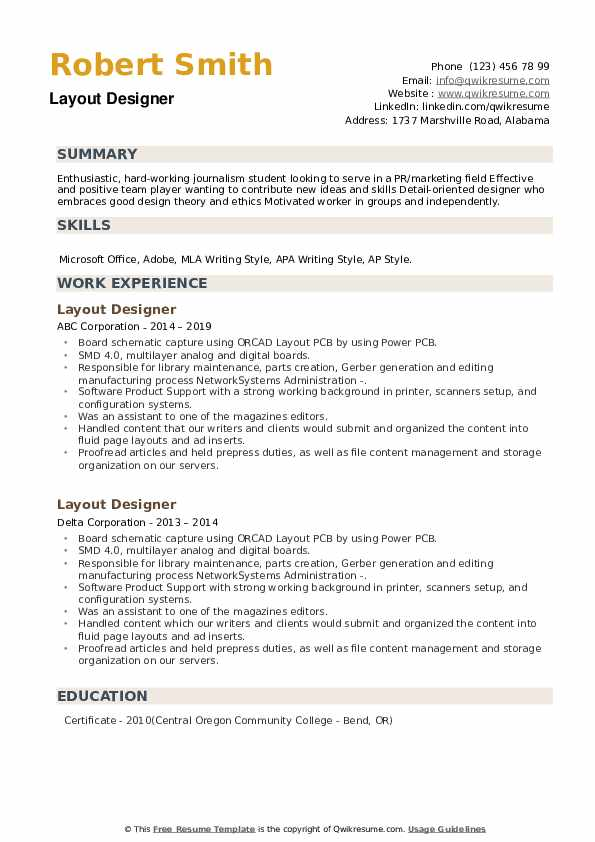 Layout Designer Resume example