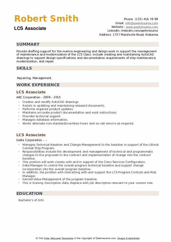 LCS Associate Resume example