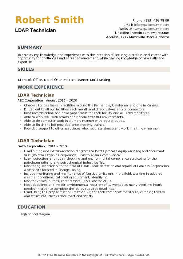LDAR Technician Resume example