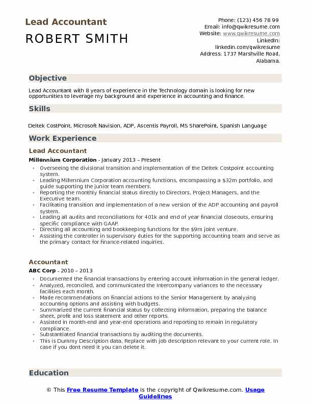 Lead Accountant Resume Model