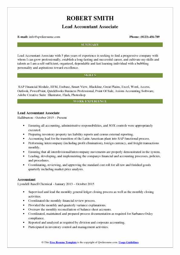 Lead Accountant Associate Resume Format