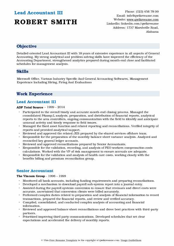 Lead Accountant III Resume Format